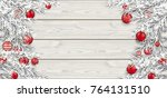frozen twigs with red christmas ... | Shutterstock .eps vector #764131510