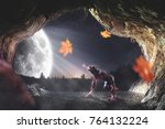 recreation of a mythical beast.   Shutterstock . vector #764132224