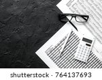 accounting work space with... | Shutterstock . vector #764137693