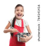 cute girl with stewpan and... | Shutterstock . vector #764141416