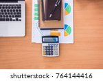 wooden office desk table with... | Shutterstock . vector #764144416