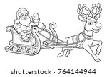 santa claus and his flying... | Shutterstock .eps vector #764144944