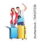 happy tourists with suitcases... | Shutterstock . vector #764147236