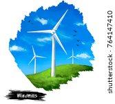 windmills digital art...   Shutterstock . vector #764147410