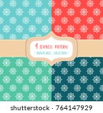 set of four christmas seamless... | Shutterstock .eps vector #764147929