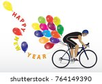 sportsman cycling with balloons ... | Shutterstock .eps vector #764149390