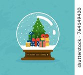 merry christmas glass ball with ... | Shutterstock .eps vector #764149420