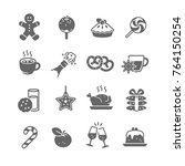 christmas food and drink icons  | Shutterstock .eps vector #764150254