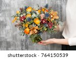 beautiful wedding bouquet of... | Shutterstock . vector #764150539