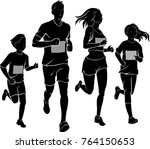family run race silhouette | Shutterstock .eps vector #764150653