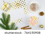 christmas composition. paper... | Shutterstock . vector #764150908