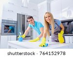 young family couple doing... | Shutterstock . vector #764152978