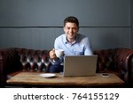 businessman drinking coffee... | Shutterstock . vector #764155129