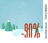 christmas sale card. vector... | Shutterstock .eps vector #764158804