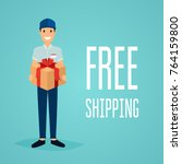 free shipping business concept. ... | Shutterstock .eps vector #764159800