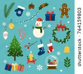 vector collection of christmas... | Shutterstock .eps vector #764159803
