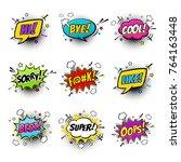 comic speech bubbles and... | Shutterstock .eps vector #764163448