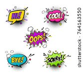 comic speech bubbles set with... | Shutterstock .eps vector #764163550