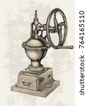 vintage manual coffee grinder... | Shutterstock .eps vector #764165110