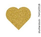 gold heart. granular dot mosaic.... | Shutterstock .eps vector #764165518