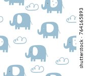 Stock vector cute seamless pattern for baby shower with elephant 764165893
