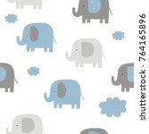 Stock vector cute seamless pattern for baby shower with elephant 764165896