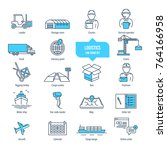 logistics thin line icons ... | Shutterstock .eps vector #764166958