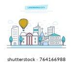 landmarks city  sights ... | Shutterstock .eps vector #764166988