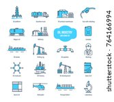 oil industry thin line icons ... | Shutterstock .eps vector #764166994