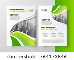 curves green flyer brochure... | Shutterstock .eps vector #764173846