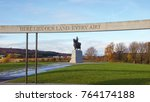 Small photo of Bannockburn, Stirlingshire, Scotland, UK; November 26th 2017: Site of the Battle of Bannockburn in 1314. Words carved on the wooden ring of the rotunda.