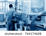 car production line  skilled... | Shutterstock . vector #764174608