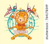 sailor lion yacht club mascotte | Shutterstock .eps vector #764178349