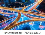 closeup of the light trails on... | Shutterstock . vector #764181310