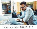 businessman having breakfast... | Shutterstock . vector #764181910