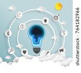 light bulb on blue sky and... | Shutterstock .eps vector #764182966