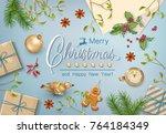 christmas vector top view... | Shutterstock .eps vector #764184349