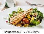 gourmet healthy salad with... | Shutterstock . vector #764186098