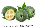 Feijoa With Leaves On A White...