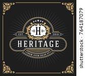 vintage luxury monogram banner... | Shutterstock .eps vector #764187079