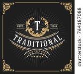 vintage luxury monogram banner...   Shutterstock .eps vector #764187088