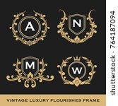 set of vintage luxury monogram... | Shutterstock .eps vector #764187094