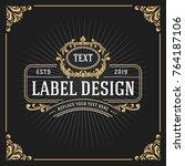 vintage luxury monogram banner... | Shutterstock .eps vector #764187106