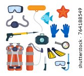 diving equipment set vector.... | Shutterstock .eps vector #764188549