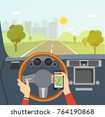 woman hands of a driver on... | Shutterstock .eps vector #764190868