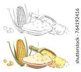 corn porridge sketch coloring... | Shutterstock .eps vector #764192416