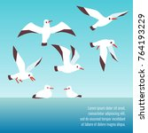 atlantic seabirds flying... | Shutterstock .eps vector #764193229