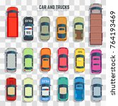 cars and trucks top view... | Shutterstock .eps vector #764193469