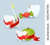 dental care set of images on... | Shutterstock .eps vector #764194744