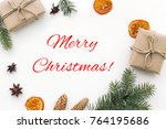 composition with text merry... | Shutterstock . vector #764195686